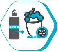 The symbol of shampoo usage after a hair transplant