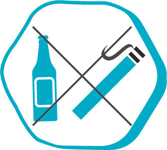 Symbol of no smoking and drinking before the operation