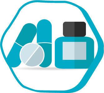 Symbolen för mediciner som används efter en hårtransplantation